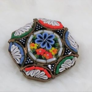 Vintage Micro Mosaic Flower Brooch Pin Italy  MM21